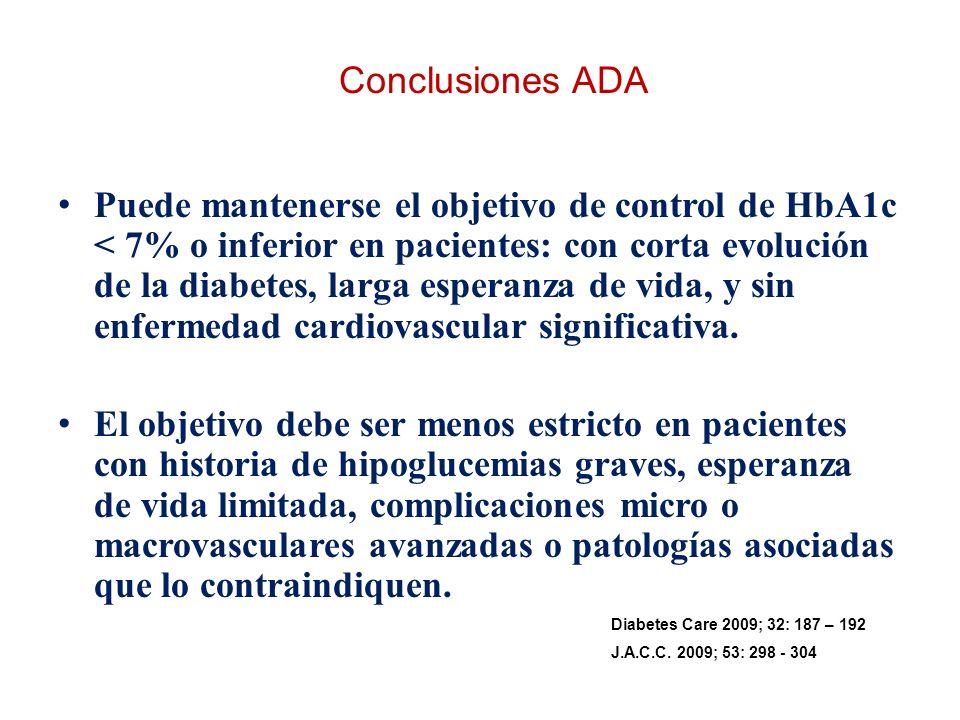 Conclusiones ADA Puede mantenerse el objetivo de control de HbA1c < 7% o inferior en pacientes: con corta evolución de la diabetes, larga esperanza de