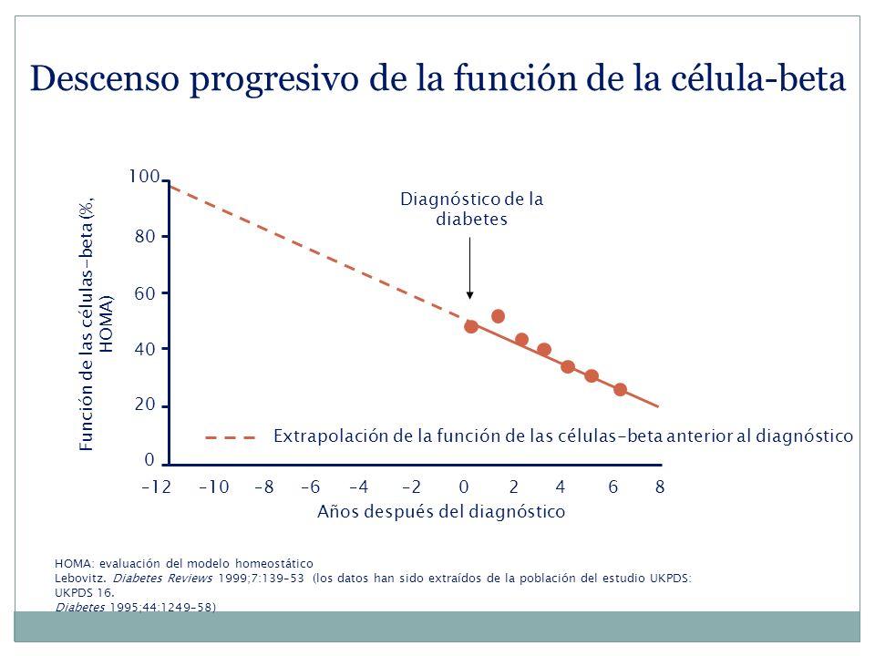Descenso progresivo de la función de la célula-beta Extrapolación de la función de las células-beta anterior al diagnóstico 0 20 40 100 –46–10–8–6–202