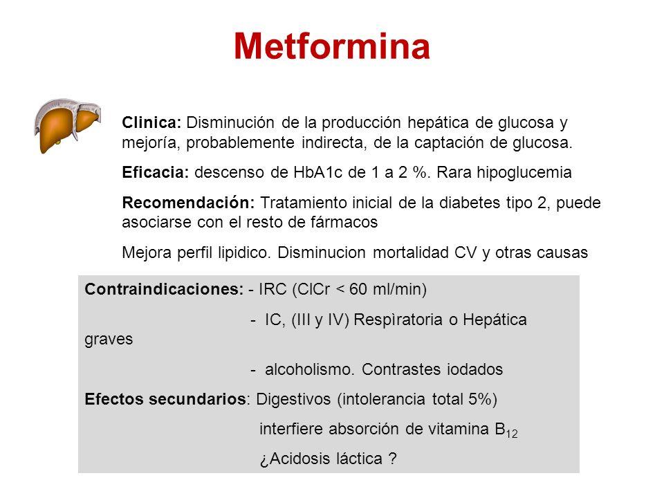 Metformina Clinica: Disminución de la producción hepática de glucosa y mejoría, probablemente indirecta, de la captación de glucosa. Eficacia: descens