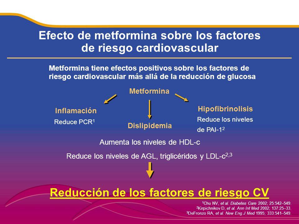 Efecto de metformina sobre los factores de riesgo cardiovascular 1 Chu NV, et al. Diabetes Care 2002; 25:542–549. 2 Kirpichnikov D, et al. Ann Int Med