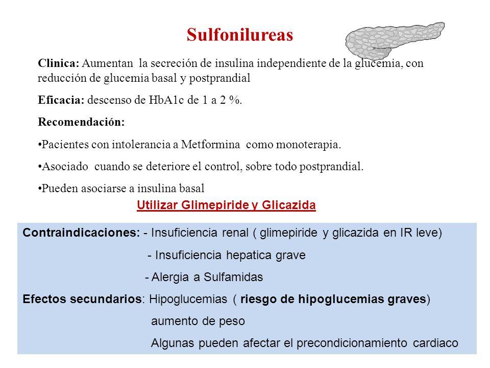 Sulfonilureas Clinica: Aumentan la secreción de insulina independiente de la glucemia, con reducción de glucemia basal y postprandial Eficacia: descen