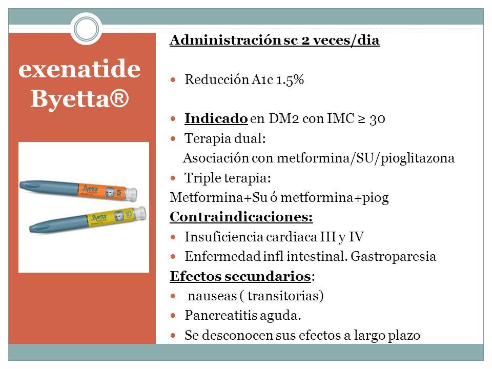 exenatide Byetta ® Administración sc 2 veces/dia Reducción A1c 1.5% Indicado en DM2 con IMC 30 Terapia dual: Asociación con metformina/SU/pioglitazona