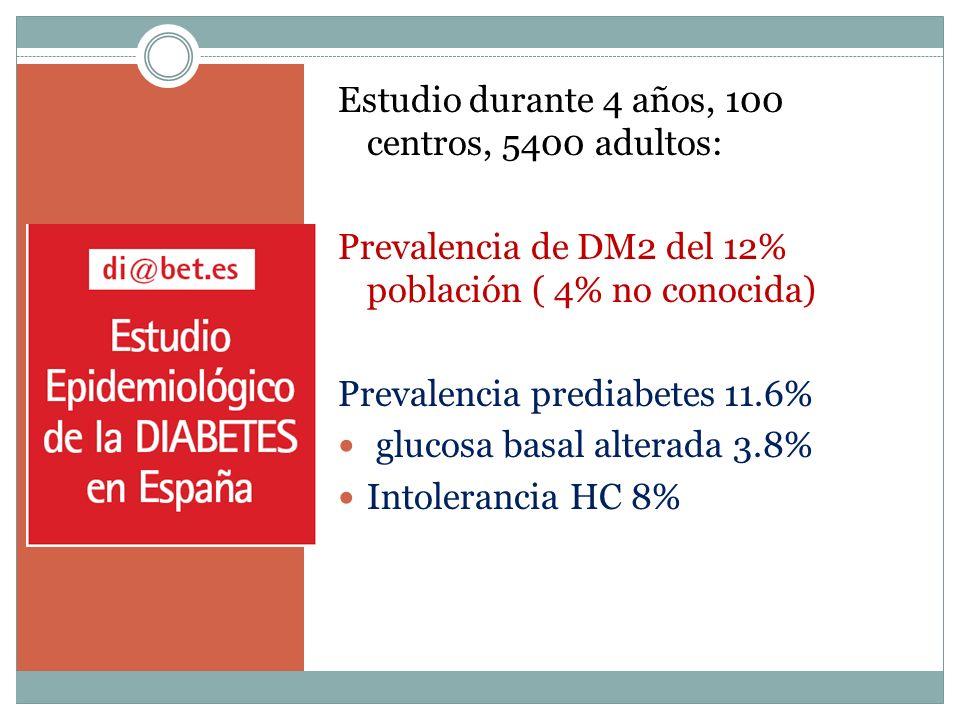 Estudio durante 4 años, 100 centros, 5400 adultos: Prevalencia de DM2 del 12% población ( 4% no conocida) Prevalencia prediabetes 11.6% glucosa basal