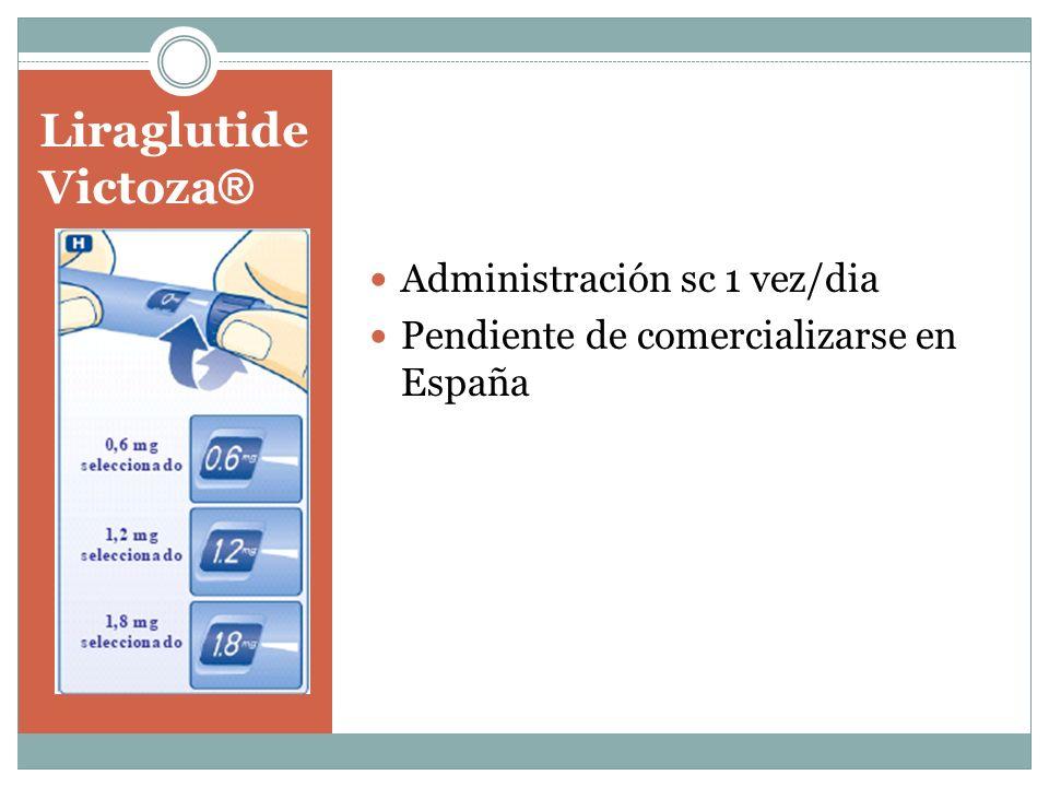 Liraglutide Victoza ® Administración sc 1 vez/dia Pendiente de comercializarse en España