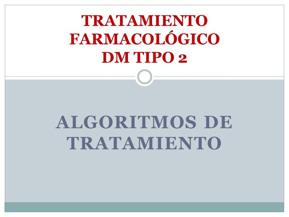 ALGORITMOS DE TRATAMIENTO TRATAMIENTO FARMACOLÓGICO DM TIPO 2