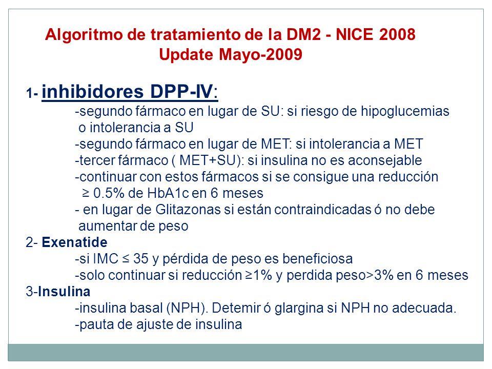 1- inhibidores DPP-IV: -segundo fármaco en lugar de SU: si riesgo de hipoglucemias o intolerancia a SU -segundo fármaco en lugar de MET: si intoleranc