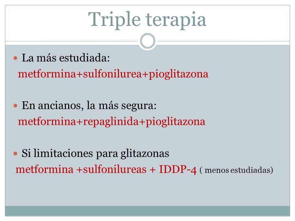 Triple terapia La más estudiada: metformina+sulfonilurea+pioglitazona En ancianos, la más segura: metformina+repaglinida+pioglitazona Si limitaciones