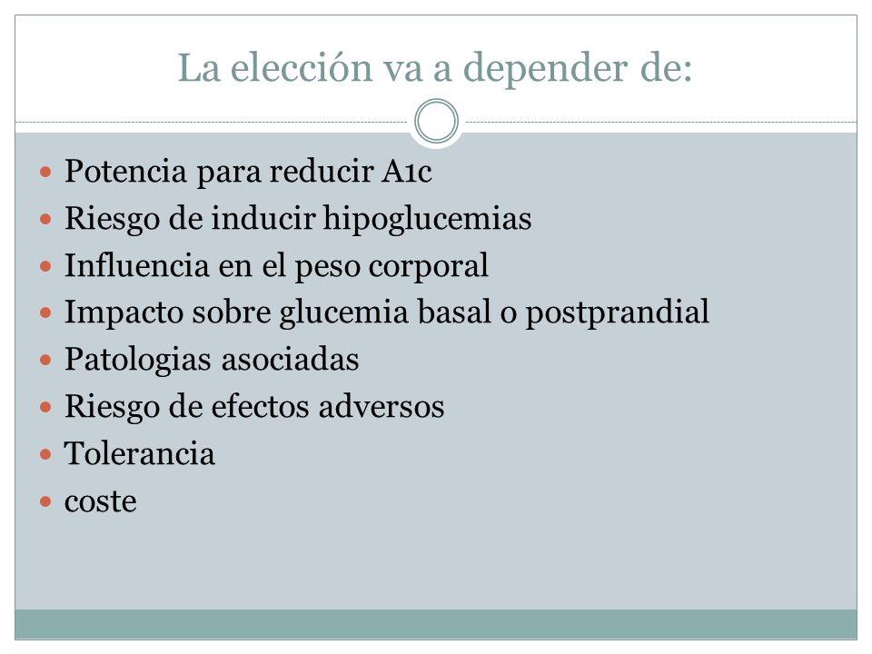 La elección va a depender de: Potencia para reducir A1c Riesgo de inducir hipoglucemias Influencia en el peso corporal Impacto sobre glucemia basal o