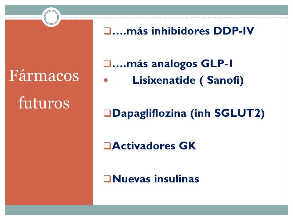 Fármacos futuros ….más inhibidores DDP-IV ….más analogos GLP-1 Lisixenatide ( Sanofi) Dapagliflozina (inh SGLUT2) Activadores GK Nuevas insulinas