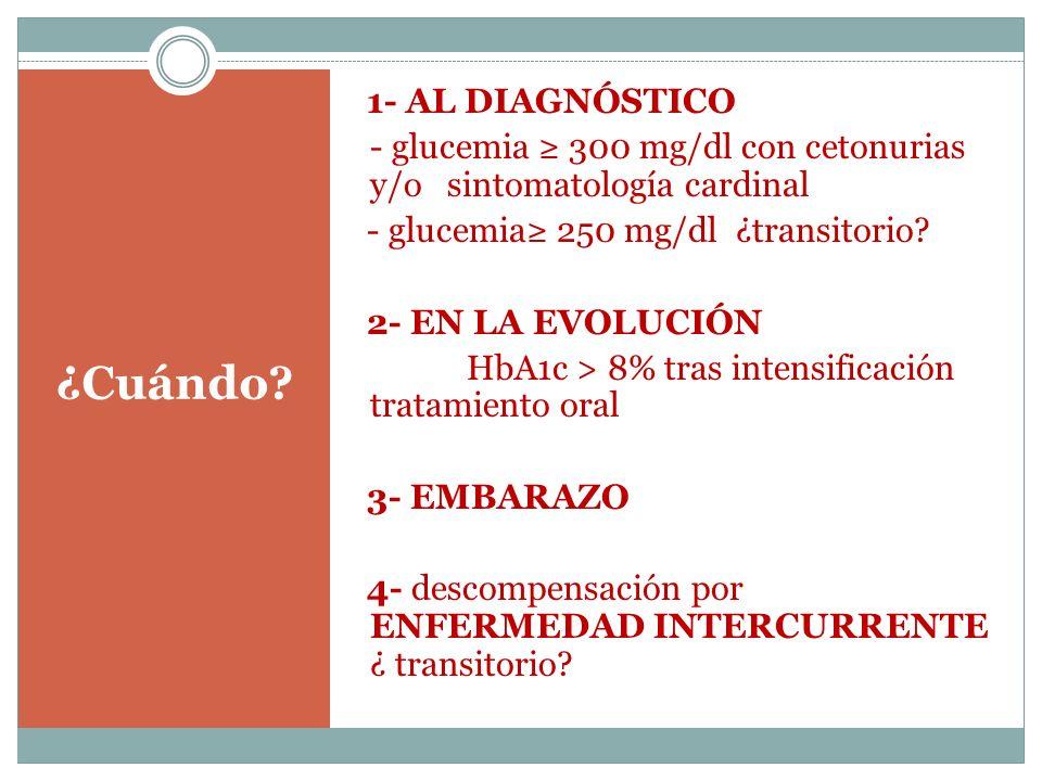 ¿Cuándo? 1- AL DIAGNÓSTICO - glucemia 300 mg/dl con cetonurias y/o sintomatología cardinal - glucemia 250 mg/dl ¿transitorio? 2- EN LA EVOLUCIÓN HbA1c