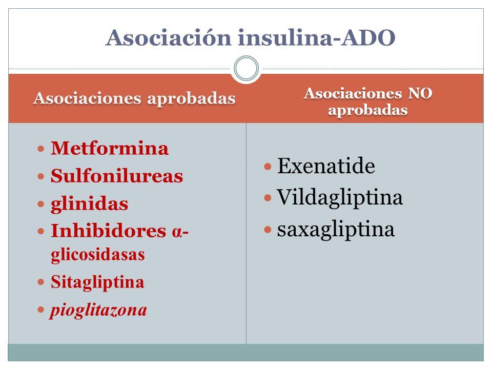 Asociaciones aprobadas Asociaciones NO aprobadas Metformina Sulfonilureas glinidas Inhibidores α- glicosidasas Sitagliptina pioglitazona Exenatide Vil