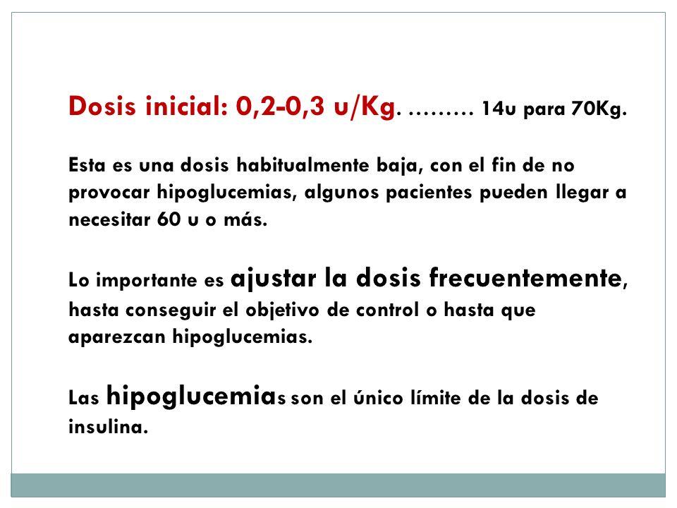 Dosis inicial: 0,2-0,3 u/Kg. ……… 14u para 70Kg. Esta es una dosis habitualmente baja, con el fin de no provocar hipoglucemias, algunos pacientes puede