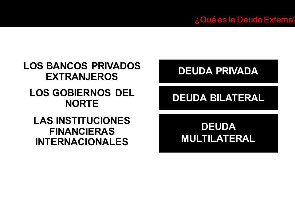 DEUDA PRIVADA LOS BANCOS PRIVADOS EXTRANJEROS DEUDA BILATERAL LOS GOBIERNOS DEL NORTE DEUDA MULTILATERAL LAS INSTITUCIONES FINANCIERAS INTERNACIONALES
