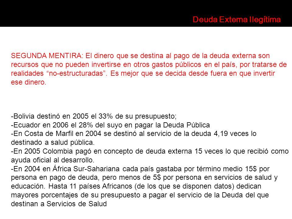SEGUNDA MENTIRA: El dinero que se destina al pago de la deuda externa son recursos que no pueden invertirse en otros gastos públicos en el país, por t