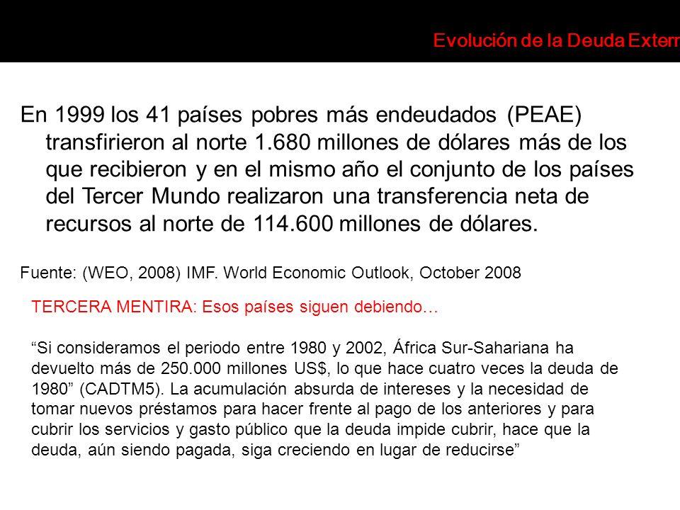 En 1999 los 41 países pobres más endeudados (PEAE) transfirieron al norte 1.680 millones de dólares más de los que recibieron y en el mismo año el con
