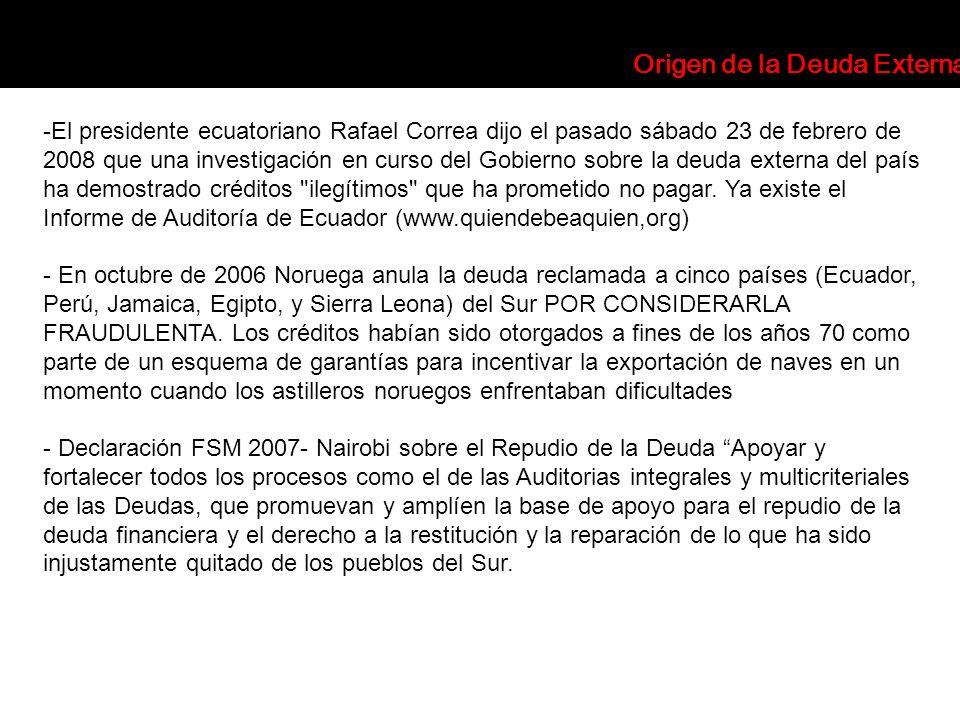 -El presidente ecuatoriano Rafael Correa dijo el pasado sábado 23 de febrero de 2008 que una investigación en curso del Gobierno sobre la deuda extern