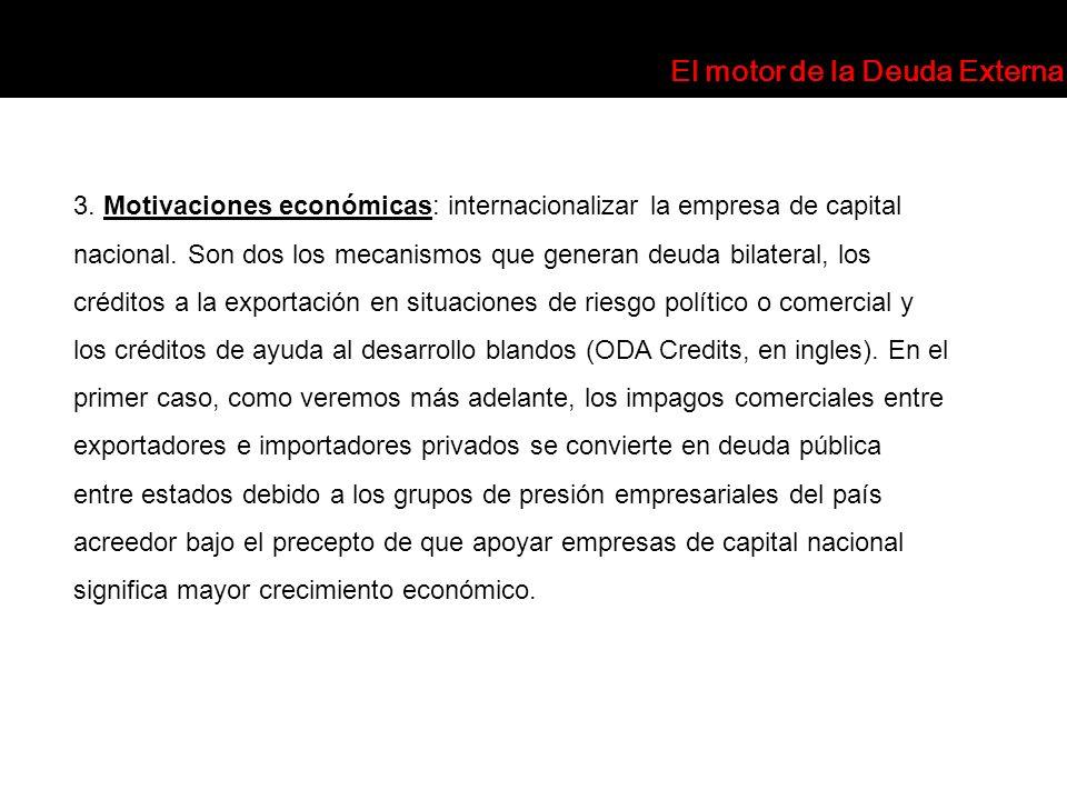 3. Motivaciones económicas: internacionalizar la empresa de capital nacional. Son dos los mecanismos que generan deuda bilateral, los créditos a la ex