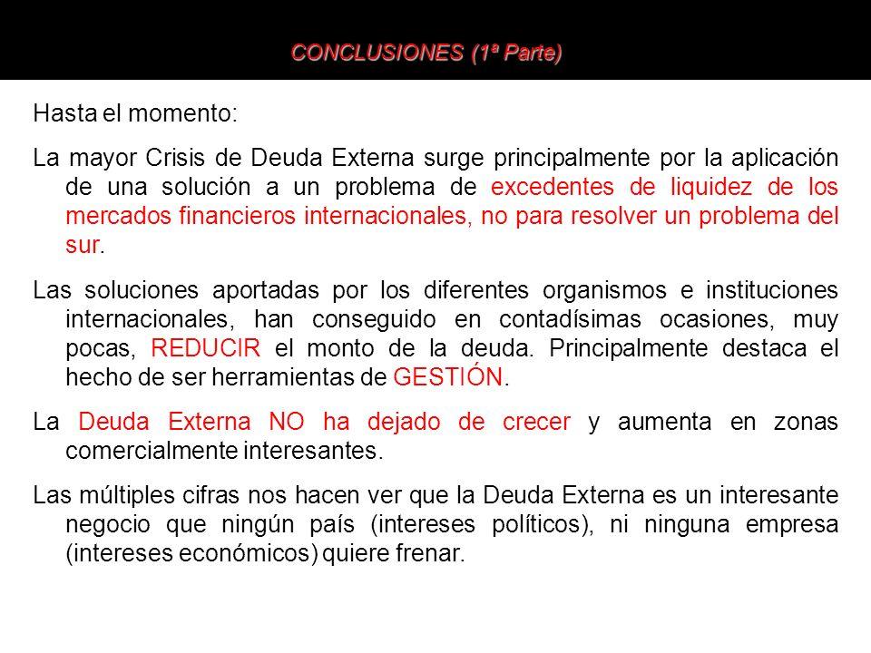 Hasta el momento: La mayor Crisis de Deuda Externa surge principalmente por la aplicación de una solución a un problema de excedentes de liquidez de l