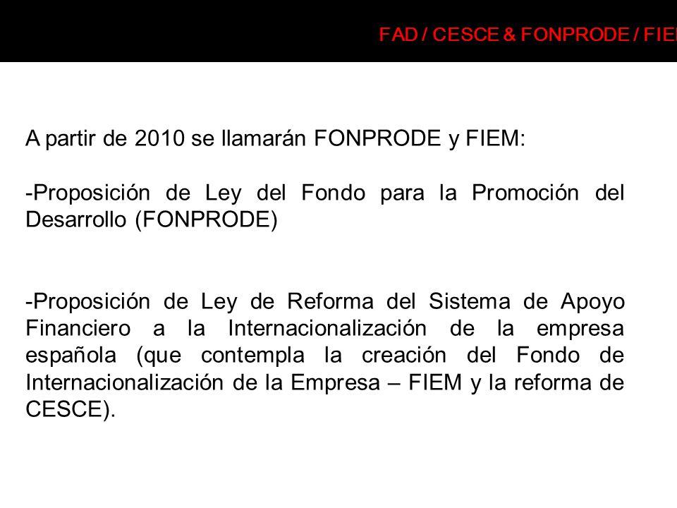 A partir de 2010 se llamarán FONPRODE y FIEM: -Proposición de Ley del Fondo para la Promoción del Desarrollo (FONPRODE) -Proposición de Ley de Reforma