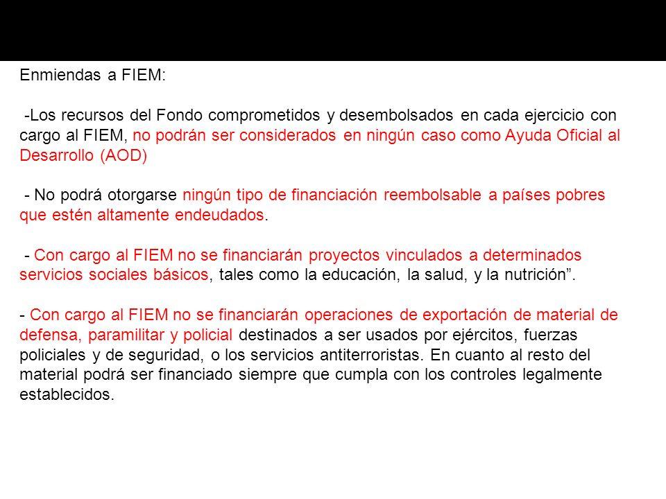Enmiendas a FIEM: -Los recursos del Fondo comprometidos y desembolsados en cada ejercicio con cargo al FIEM, no podrán ser considerados en ningún caso