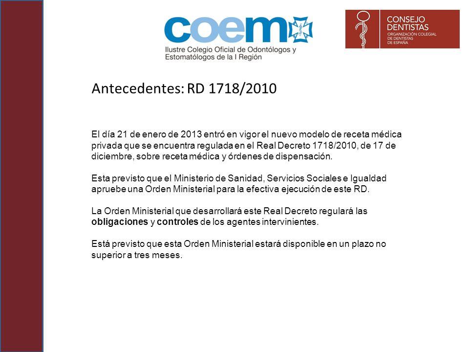 Antecedentes: RD 1718/2010 El día 21 de enero de 2013 entró en vigor el nuevo modelo de receta médica privada que se encuentra regulada en el Real Dec