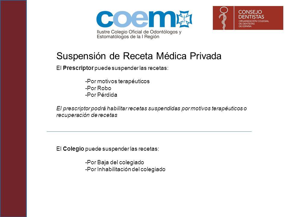 Suspensión de Receta Médica Privada El Prescriptor puede suspender las recetas: -Por motivos terapéuticos -Por Robo -Por Pérdida El prescriptor podrá