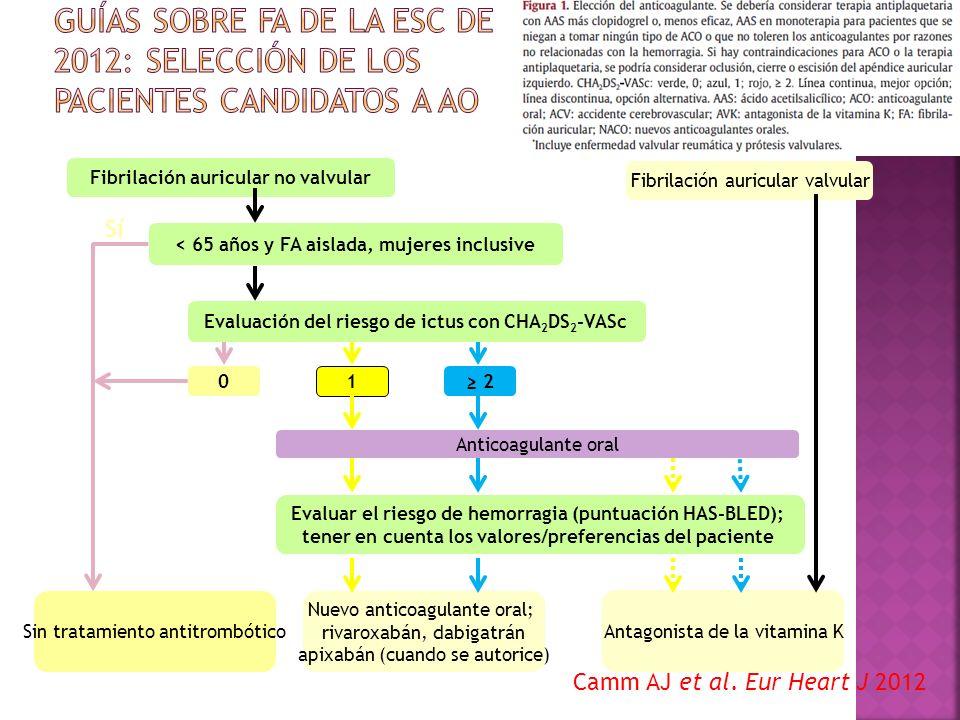 Fibrilación auricular no valvular Fibrilación auricular valvular < 65 años y FA aislada, mujeres inclusive Evaluación del riesgo de ictus con CHA 2 DS