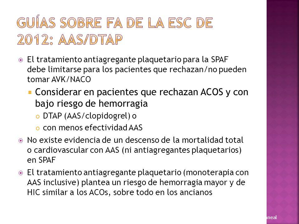Recomendación de identificar a los pacientes con FA y riesgo «verdaderamente bajo» de ictus: CHA 2 DS 2 -VASc para evaluar el riesgo de ictus en la FA (recomendación IA) CHA 2 DS 2 -VASc = 0: no se recomienda antitrombótico (p.
