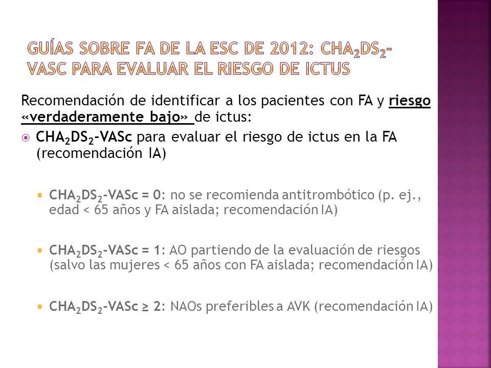 Recomendación de identificar a los pacientes con FA y riesgo «verdaderamente bajo» de ictus: CHA 2 DS 2 -VASc para evaluar el riesgo de ictus en la FA