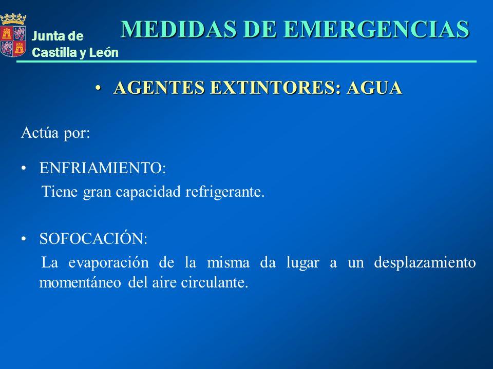 Junta de Castilla y León AGENTES EXTINTORES: AGUAAGENTES EXTINTORES: AGUA Actúa por: ENFRIAMIENTO: Tiene gran capacidad refrigerante. SOFOCACIÓN: La e