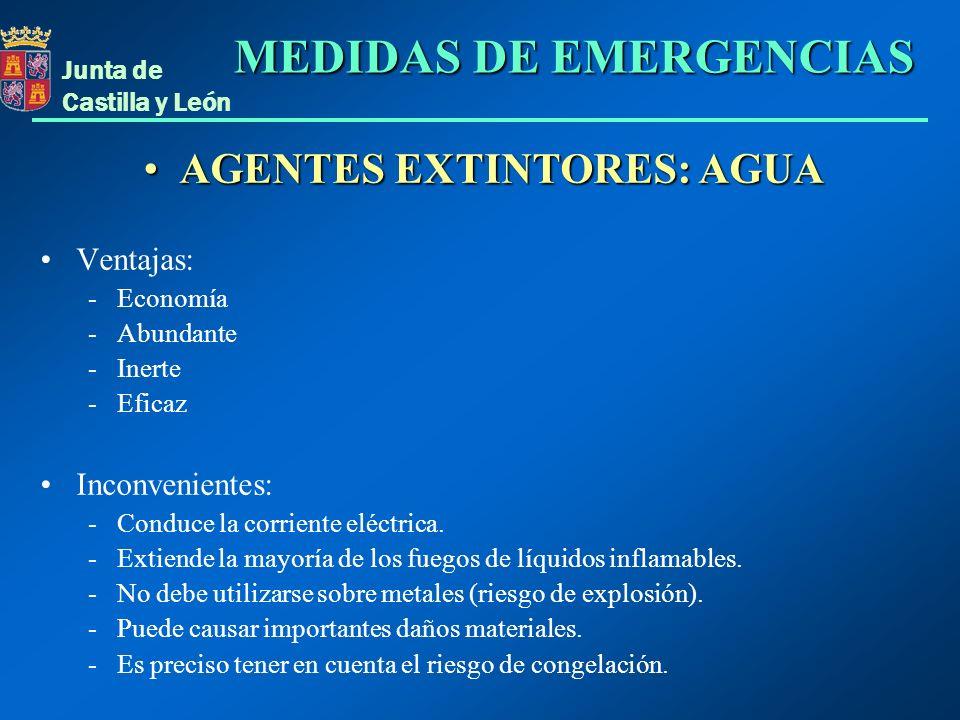 Junta de Castilla y León AGENTES EXTINTORES: AGUAAGENTES EXTINTORES: AGUA Ventajas: - Economía - Abundante - Inerte - Eficaz Inconvenientes: - Conduce