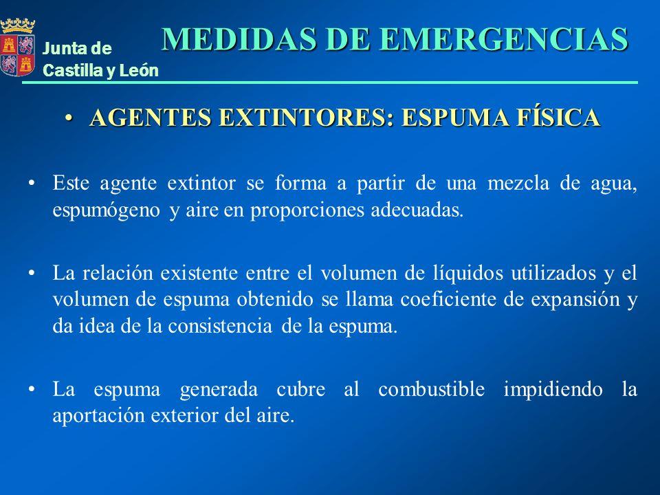 Junta de Castilla y León AGENTES EXTINTORES: ESPUMA FÍSICAAGENTES EXTINTORES: ESPUMA FÍSICA Este agente extintor se forma a partir de una mezcla de ag
