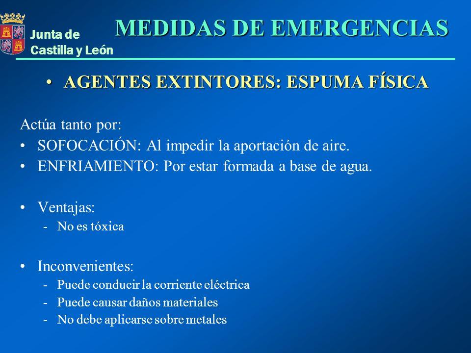 Junta de Castilla y León AGENTES EXTINTORES: ESPUMA FÍSICAAGENTES EXTINTORES: ESPUMA FÍSICA Actúa tanto por: SOFOCACIÓN: Al impedir la aportación de a