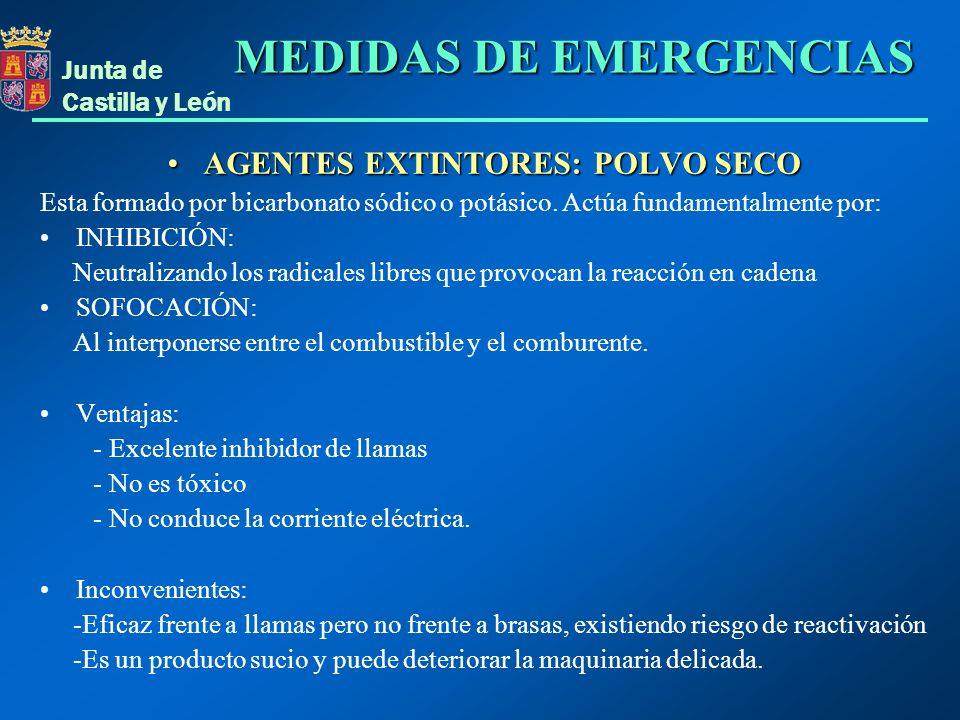Junta de Castilla y León AGENTES EXTINTORES: POLVO SECOAGENTES EXTINTORES: POLVO SECO Esta formado por bicarbonato sódico o potásico. Actúa fundamenta