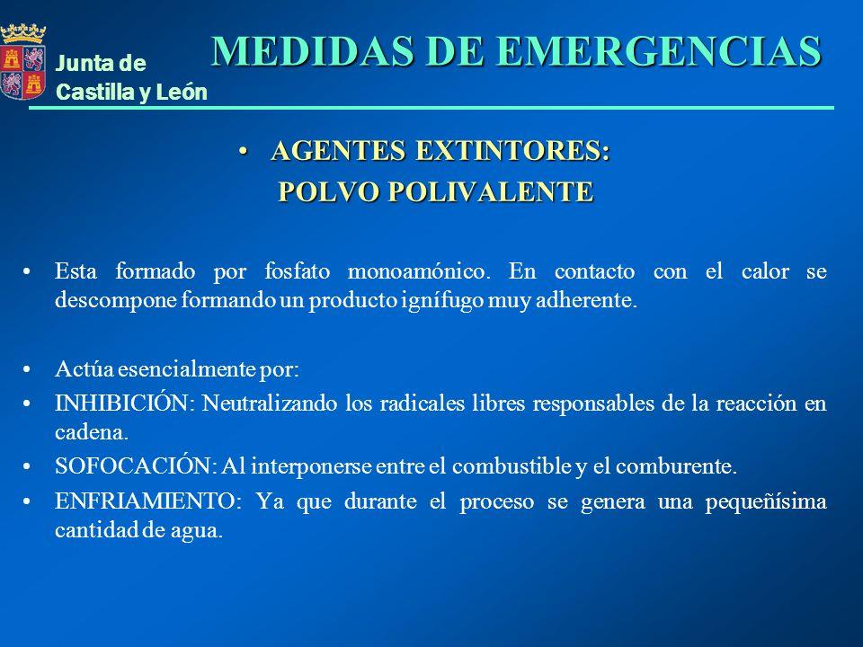 Junta de Castilla y León AGENTES EXTINTORES:AGENTES EXTINTORES: POLVO POLIVALENTE POLVO POLIVALENTE Esta formado por fosfato monoamónico. En contacto