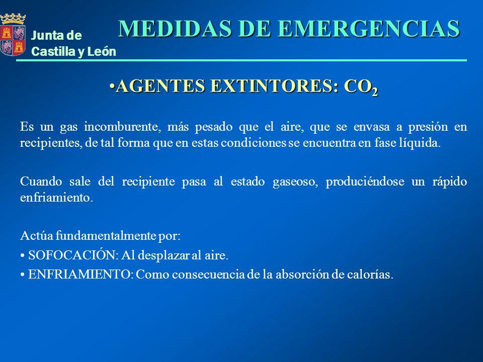 Junta de Castilla y León AGENTES EXTINTORES: CO 2AGENTES EXTINTORES: CO 2 Es un gas incomburente, más pesado que el aire, que se envasa a presión en r