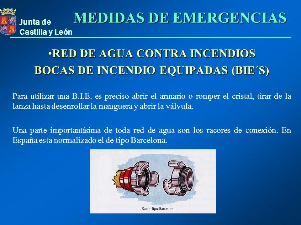 Junta de Castilla y León RED DE AGUA CONTRA INCENDIOSRED DE AGUA CONTRA INCENDIOS BOCAS DE INCENDIO EQUIPADAS (BIE´S) Para utilizar una B.I.E. es prec