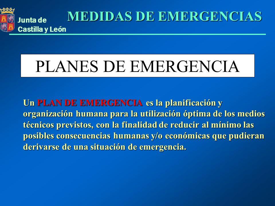 Junta de Castilla y León PLANES DE EMERGENCIA Un PLAN DE EMERGENCIA es la planificación y organización humana para la utilización óptima de los medios