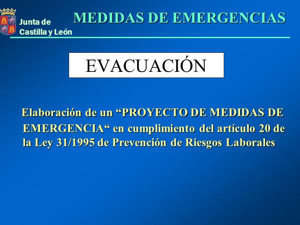Junta de Castilla y León EVACUACIÓN Elaboración de un PROYECTO DE MEDIDAS DE EMERGENCIA en cumplimiento del artículo 20 de la Ley 31/1995 de Prevenció
