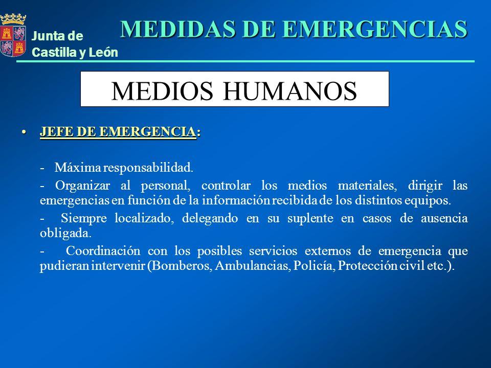 Junta de Castilla y León MEDIOS HUMANOS JEFE DE EMERGENCIA:JEFE DE EMERGENCIA: - Máxima responsabilidad. - Organizar al personal, controlar los medios