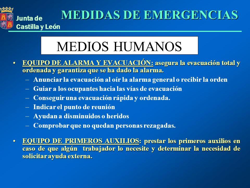 Junta de Castilla y León EQUIPO DE ALARMA Y EVACUACIÓN: asegura la evacuación total y ordenada y garantiza que se ha dado la alarma.EQUIPO DE ALARMA Y
