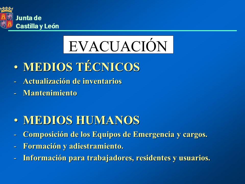 Junta de Castilla y León EVACUACIÓN MEDIOS TÉCNICOSMEDIOS TÉCNICOS -Actualización de inventarios -Mantenimiento MEDIOS HUMANOSMEDIOS HUMANOS -Composic