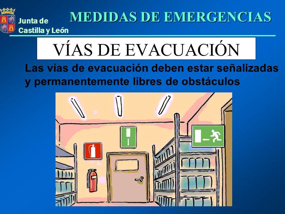 Junta de Castilla y León VÍAS DE EVACUACIÓN Las vías de evacuación deben estar señalizadas y permanentemente libres de obstáculos MEDIDAS DE EMERGENCI