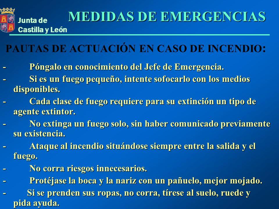 Junta de Castilla y León PAUTAS DE ACTUACIÓN EN CASO DE INCENDIO : - Póngalo en conocimiento del Jefe de Emergencia. - Si es un fuego pequeño, intente