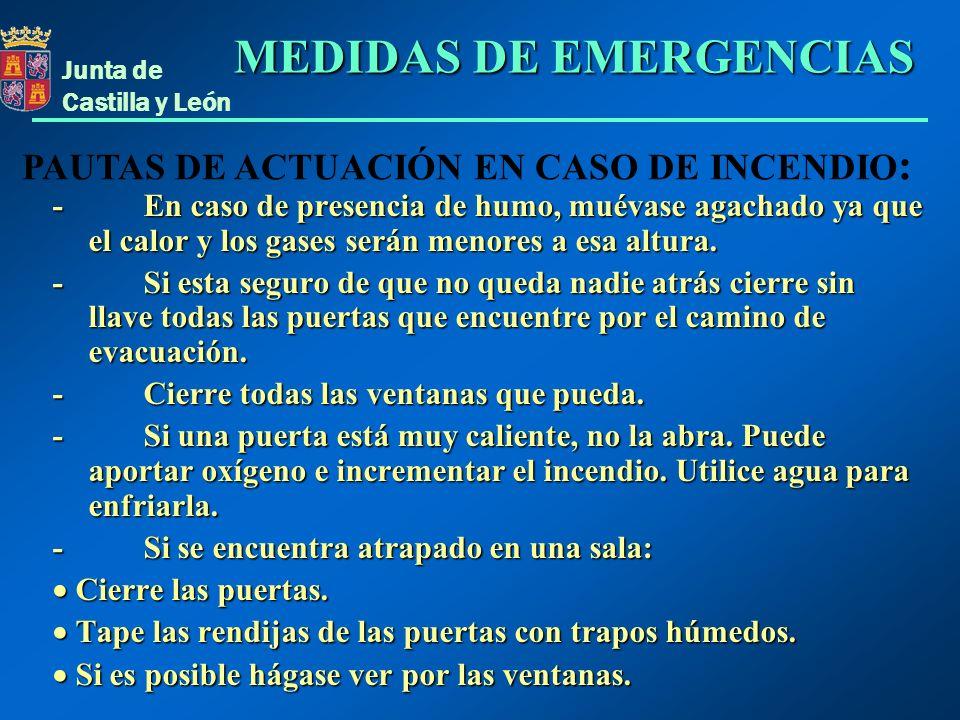 Junta de Castilla y León - En caso de presencia de humo, muévase agachado ya que el calor y los gases serán menores a esa altura. - Si esta seguro de