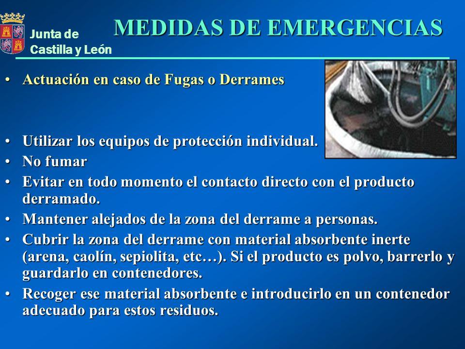 Actuación en caso de Fugas o DerramesActuación en caso de Fugas o Derrames Utilizar los equipos de protección individual.Utilizar los equipos de prote