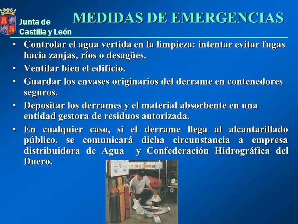 Junta de Castilla y León Controlar el agua vertida en la limpieza: intentar evitar fugas hacia zanjas, ríos o desagües.Controlar el agua vertida en la