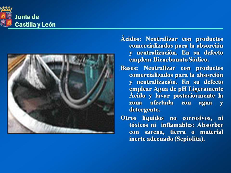 Junta de Castilla y León Ácidos: Neutralizar con productos comercializados para la absorción y neutralización. En su defecto emplear Bicarbonato Sódic