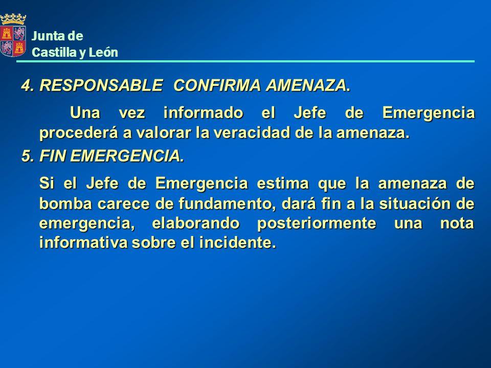 Junta de Castilla y León 4.RESPONSABLE CONFIRMA AMENAZA. Una vez informado el Jefe de Emergencia procederá a valorar la veracidad de la amenaza. 5.FIN