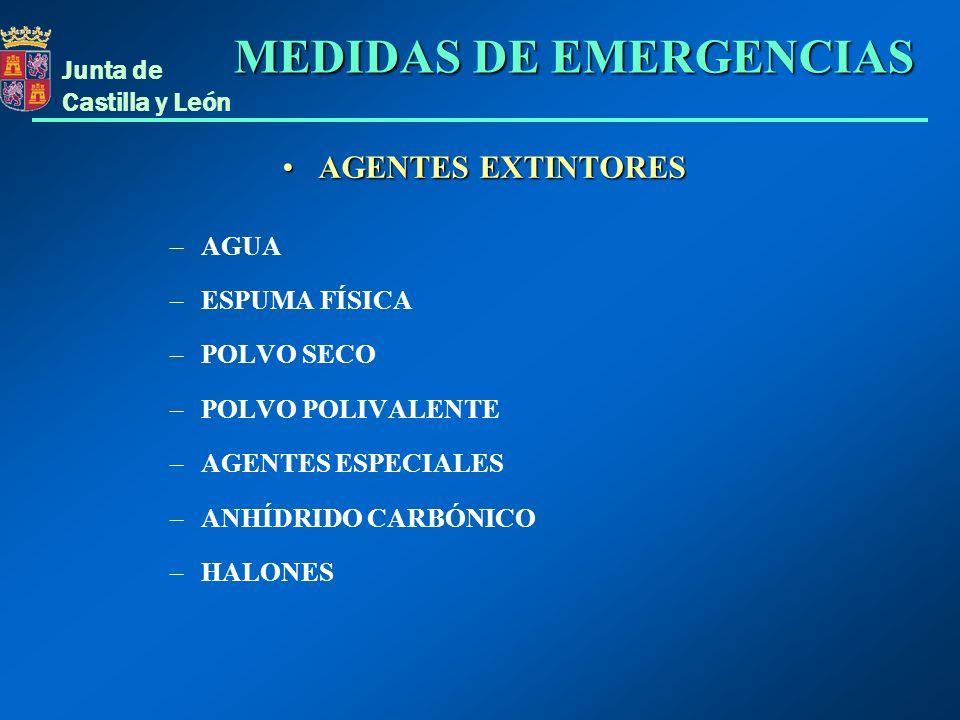 Junta de Castilla y León AGENTES EXTINTORES: AGUAAGENTES EXTINTORES: AGUA Actúa por: ENFRIAMIENTO: Tiene gran capacidad refrigerante.